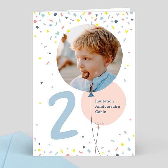 Invitation anniversaire enfant 2 ans popcarte - Anniversaire fille 2 ans ...