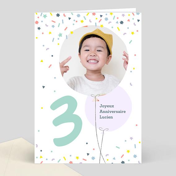 carte d 39 anniversaire enfant 3 ans souhait. Black Bedroom Furniture Sets. Home Design Ideas