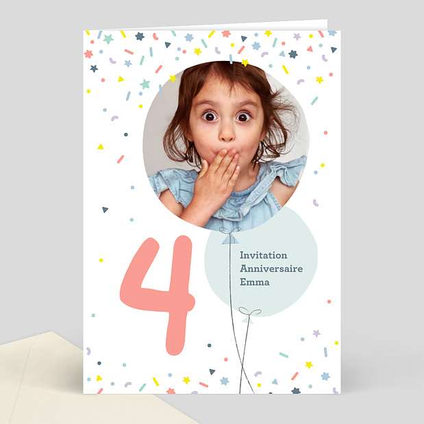 invitation anniversaire enfant 4 ans popcarte. Black Bedroom Furniture Sets. Home Design Ideas