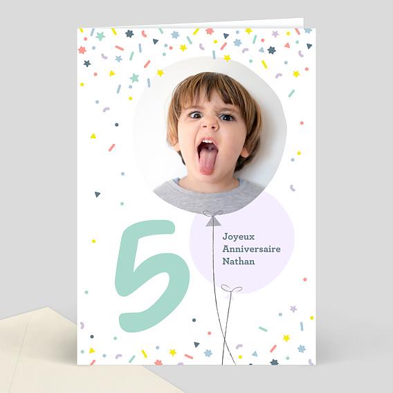 Carte d'anniversaire enfant 5 ans souhait