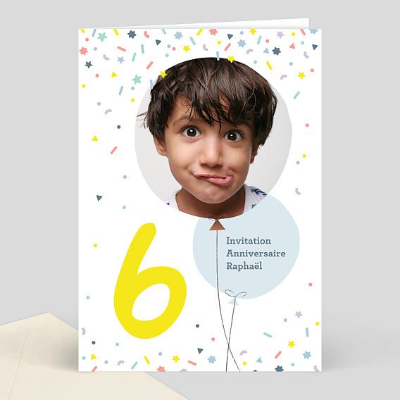 invitation anniversaire enfant 6 ans popcarte. Black Bedroom Furniture Sets. Home Design Ideas