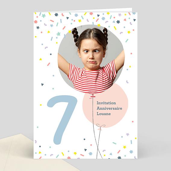Invitation Anniversaire Enfant 7 ans - Popcarte