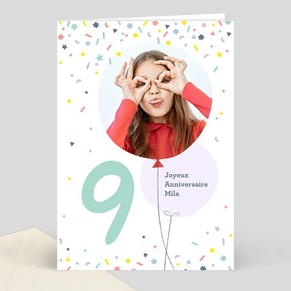 Très Carte d'anniversaire enfant 9 ans souhait XE73