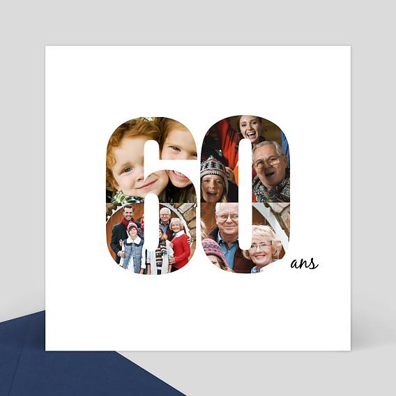 Carte d'Invitation Anniversaire 60 ans - Popcarte