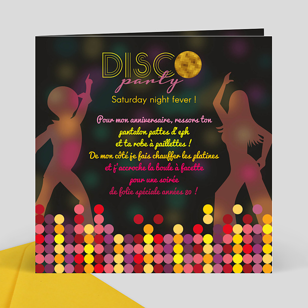 Carte d'invitation anniversaire disco party