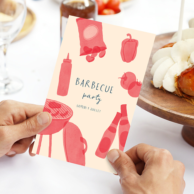 Carte d 39 invitation anniversaire barbecue party popcarte for Menu entre copains