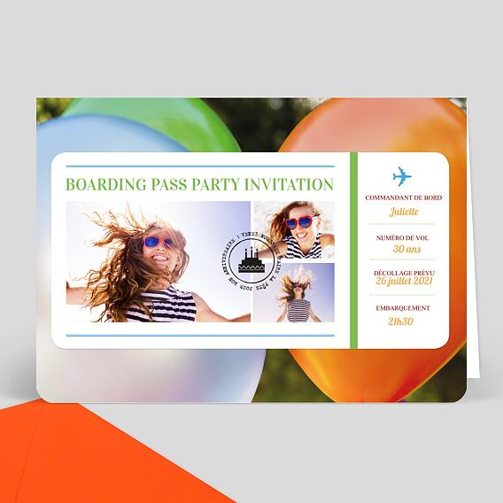 carte d 39 invitation anniversaire boarding pass popcarte. Black Bedroom Furniture Sets. Home Design Ideas