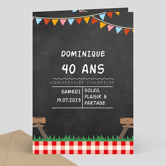 Assez Carte d'Invitation Anniversaire Champêtre - Popcarte TU03