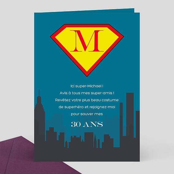 Carte d 39 invitation anniversaire super h ros popcarte - Carte anniversaire super heros ...