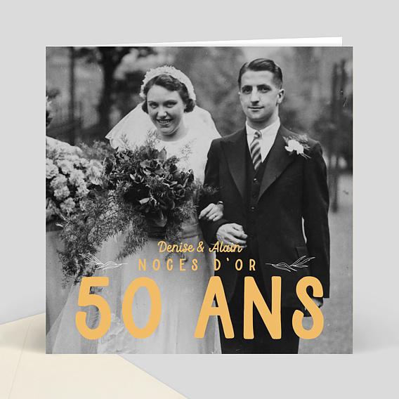 Carte d 39 invitation anniversaire de mariage 50 ans color s for 50 robes de mariage anniversaire