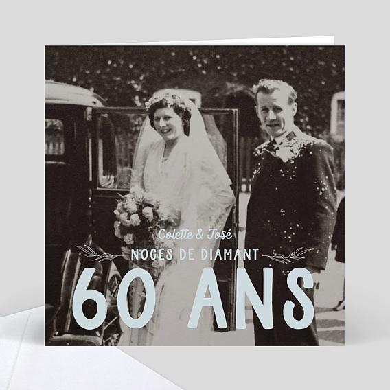 carte d 39 invitation anniversaire de mariage 60 ans id233e. Black Bedroom Furniture Sets. Home Design Ideas