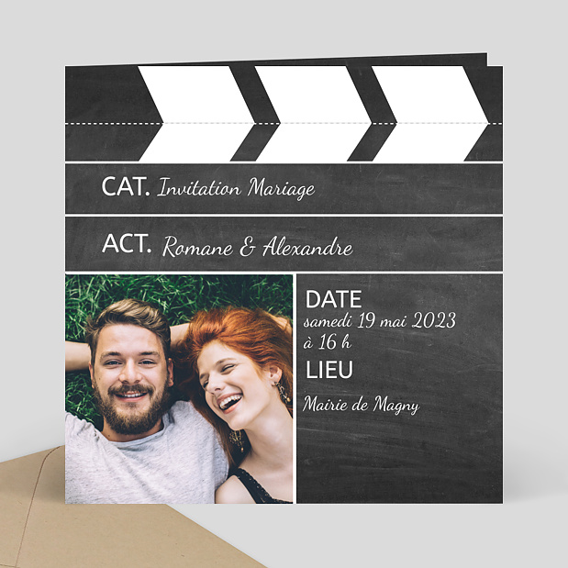 Faire part mariage cin ma popcarte for Code vestimentaire d invitation de mariage