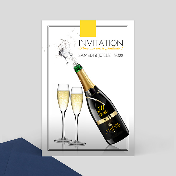 invitation anniversaire champagne popcarte. Black Bedroom Furniture Sets. Home Design Ideas