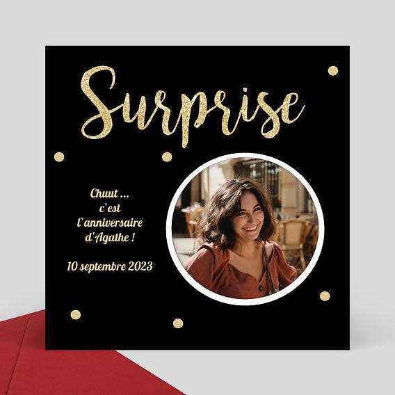 Carte invitation anniversaire Surprise- Popcarte
