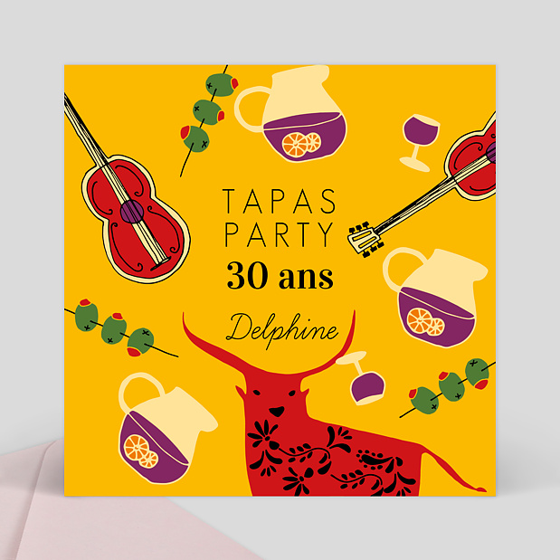 invitation anniversaire tapas party popcarte. Black Bedroom Furniture Sets. Home Design Ideas