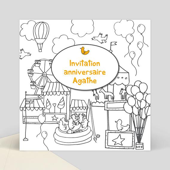 Invitation anniversaire coloriage f te foraine popcarte - Dessin invitation ...