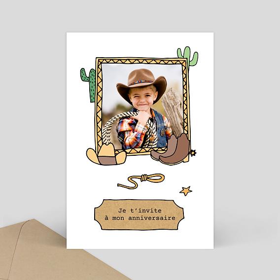 Carte d'invitation anniversaire Cowboy - Popcarte