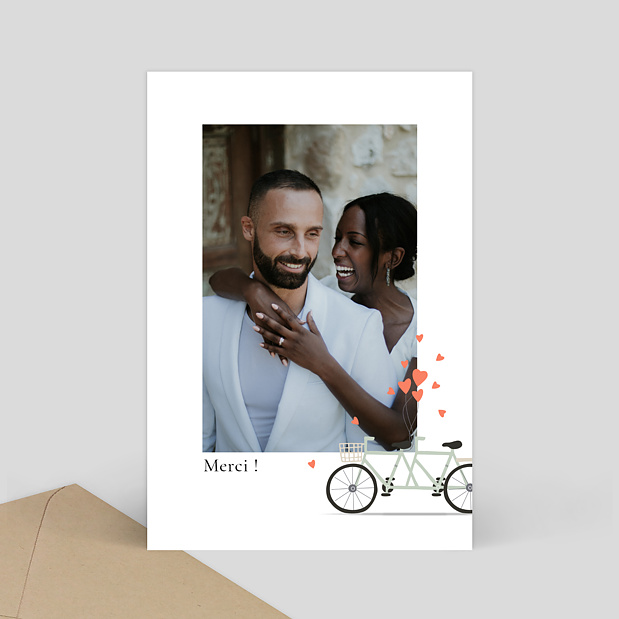 Remerciement Mariage A bicyclette